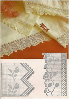 Crochet Edging And Borders Beautiful filet crochet lace edging with roses design and interlaced diamonds on inner straight border Filet Crochet, Crochet Lace Edging, Crochet Diy, Easy Crochet Projects, Crochet Borders, Crochet Diagram, Crochet Stitches Patterns, Crochet Chart, Crochet Home
