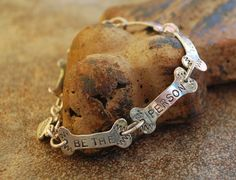 Be The Person Your Dog Thinks You Are sterling silver link brace : Inspirational Jewelry, Motivational Message Jewelry - Affirmations