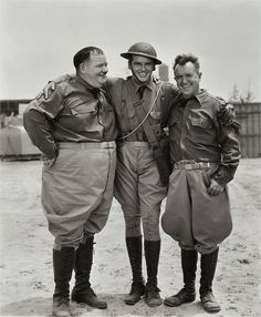 Edmund MacDonald with the Boys on the Great Guns set.