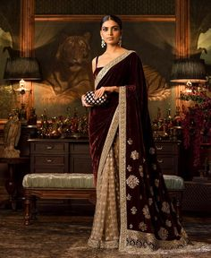 These Sabyasachi Saree are stunning in the designer saree spectrum! Find more Sabyasachi saree, Sabyasachi Lehenga and Sabyasachi Dress on Happy Shappy Designer Silk Sarees, Indian Designer Wear, Indian Dresses, Indian Outfits, Eid Outfits, Eid Dresses, Sabyasachi Dresses, Anarkali Suits, Punjabi Suits