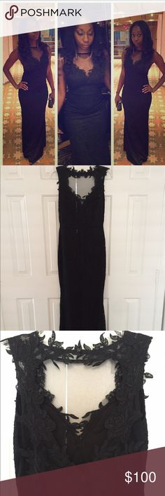 Elegant Long Laced Black Dress Formal fitting, worn once, excellent condition. You'll love it!! Dresses