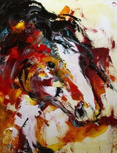 Artists Of Texas Contemporary Paintings and Art - Red Desert Horse, Palette Knife Horse Painting by A Texas Artist Laurie Pace