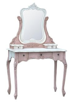 French Blush Pink & White Dressing Table