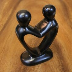 Soapstone Couple Heart Sculpture - Handcarved in Kenya from soapstone, these fair trade sculptures are each unique, they will vary slightly. Makes a great wedding or anniversary gift!
