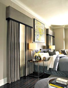 Gray drapery and cornices pelmets with matching custom bedding