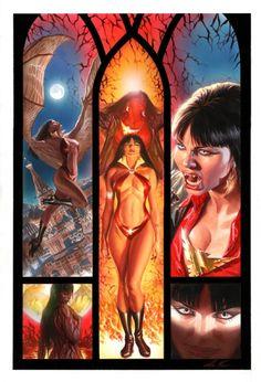 VAMPIRELLA #12 COVER PAINTING ( 2011, ALEX ROSS ) Comic Art