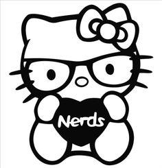 hello kitty nerd vinyl die cut decal sticker 500 black - Hello Kitty Pictures To Draw