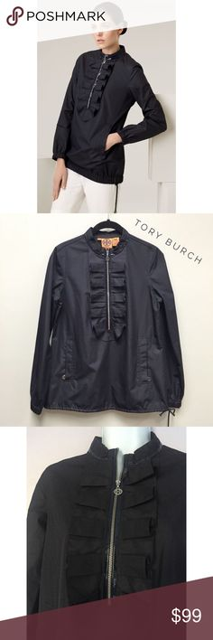 """{Tory Burch} Ruffle Windbreaker Excellent condition! Charming ruffles flank the zippered half placket of a sport-infused pullover accented with glossy patent in a tonal shade. Front pockets. Drawcord hem with toggle closures. Approx. length from shoulder: 26 1/2"""". Polyester. Tory Burch Jackets & Coats"""