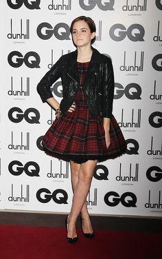 Emma Watson in McQ by Alexander McQueen Tartan Dress and Christian Louboutin Pumps