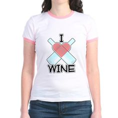 I Love Wine T- Shirt. I love wine! Two wine bottles form a red heart. Fun gift…