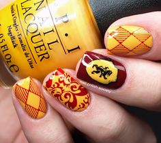 """Nail Polish Society Hehe Harry Potter Collection Stamping Plate Review. Used: OPI The """"It"""" Color- yellow/orange, Sally Hansen Insta-Dri Cinna-snap- brick red, Konad Black stamping polish, Seche Vite top coat. Hehe plate 026"""