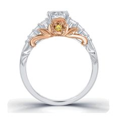 These engagement rings are enchanted with Disney inspiration. The full Enchanted Disney Fine Jewelry collection launches this holiday season. Disney Princess Engagement Rings, Two Tone Engagement Rings, Disney Rings, Princess Rings, Classic Wedding Rings, Wedding Ring Styles, Wedding Bands, Wedding Ideas, Disney Enchanted Jewelry