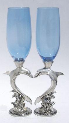 Dolphin Wedding Toasting Glasses Set