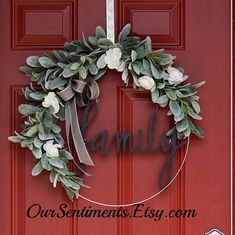 Hoop wreath with artificial lambs ear stems and white floral blossoms Wedding Wreath Monogrammed Gifts Personalized items door wreath We used lovely, soft and realistic artificial lambs ear stems and dainty white wild roses secured to a sturdy wire base This is a very durable wreath