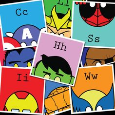 "ABCs of Super 26 Prints of MARVEL Super Heroes 8.5""x8.5"" prints Spider-Man / Captain America / Hulk / Wolverine / Avengers / Iron Man. $65.00, via Etsy."