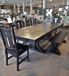 Large scale North-American handmade, maple dining set from Ruffsawn. Their advanced finishes promise durability and coverage you need to feel to believe. Dining Set, Dining Chairs, Dining Table, Dining Room, 9 Drawer Dresser, Hardwood Furniture, Rustic Bedding, Round Coffee Table, How To Make Bed