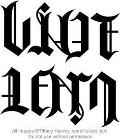 """""""Live"""" & """"Learn"""" Ambigram Tattoo"""