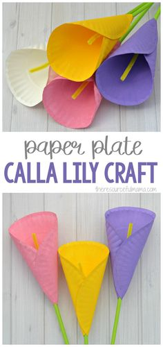 Transform paper plates into a beautiful Calla Lily Flower Craft for kids.Transform paper plates into a beautiful Calla Lily Flower Craft for kids. Homemade Mothers Day Gifts, Mothers Day Crafts For Kids, Spring Crafts For Kids, Paper Crafts For Kids, Preschool Crafts, Paper Crafting, Art For Kids, Flower Crafts Kids, Flower Craft For Preschool
