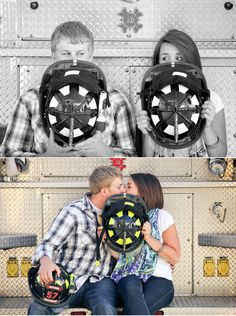 Cute Engagement Shoot at Fire Station