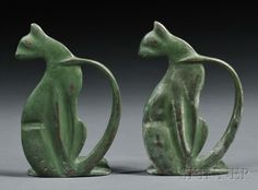 of Art Deco Cat Bookends Pair of Art Deco Cat Bookends Stylized cat-form bookends in green painted metal, ht.Pair of Art Deco Cat Bookends Stylized cat-form bookends in green painted metal, ht. Art Nouveau, Art Deco Period, Art Deco Era, Art Deco Furniture, Wooden Furniture, Furniture Ideas, Couch Furniture, Furniture Logo, Urban Furniture
