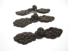 Chinese knot button closures  3 pairs dark brown by TintinBeads