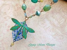 Dragonfly necklace set blue green multi strand by Gypsymoondesigns