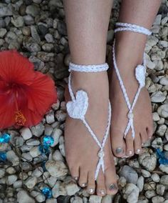"""Crocheted ~Sweetheart Barefoot Sandals~ price: $7.50 sparkle price: $9.00 Choose 1 main color!!  Dimensions: Tie strings- 18"""" Heart- 3""""  *Please note the bead that is used for this sandal will be the one shown in the picture!*ocheted Barefoot-Sandals"""