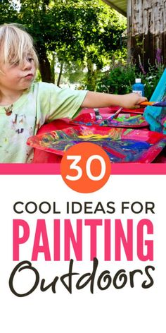 Kids painting ideas outdoors - super fun easy arts activities for children that . Outdoor Activities For Kids, Outdoor Learning, Learning Activities, Preschool Activities, Painting Activities, Learning Spaces, Creative Activities, Preschool Art, Montessori Baby
