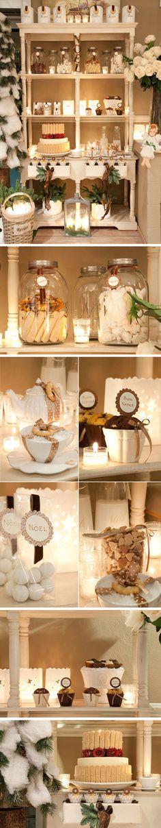 """""""mesa"""" dulce navideña en blanco y marron"""