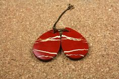 Red Jasper Teardrop Earring Pair  Red White and Tan by ABOSBeads