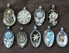favecraftscom Vintage Spoon Pendants Christmas Crafts, Free Knitting Patterns, Free Crochet Patterns and More from Vintage Spoon Pendants C Silver Spoon Jewelry, Fork Jewelry, Resin Jewelry, Jewelry Crafts, Jewelry Art, Handmade Jewelry, Jewlery, Bullet Jewelry, Silver Spoons