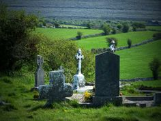 Burren crosses in county Clare, Ireland...nothing like the beauty of an old cemetery in Ireland