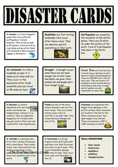 Natural Disasters Vocabulary Cards Natural Disaster Games, Teaching Aids, Teaching Science, 4th Grade Science, Vocabulary Cards, English Lessons, Learn English, Teaching English, Disaster Preparedness