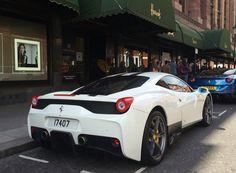 White Ferrari 458 Specialé & blue California T papped outside Harrods
