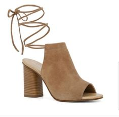 Beige suede peep toe ALDO heels. Lace up size 9. Get them today.