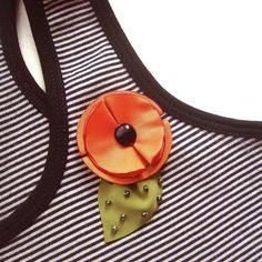 Corsage pin fabric flower orange poppy handmade  by mammamiaeme, $17.00