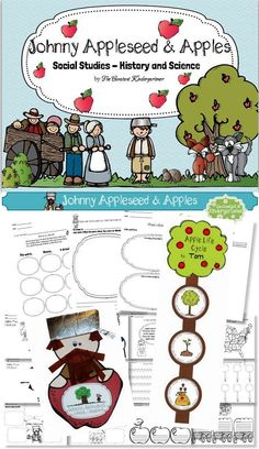 Johnny Appleseed and Apples Social Studies - History and Science with common core ELA worksheets, math, geography, science, graphic organizers, the letter A,a (tracing&worksheets), posters and unique templates for 2 craftivities.