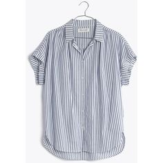 MADEWELL Central Shirt in Chambray Stripe (225 BRL) ❤ liked on Polyvore featuring tops, shirts, madewel, tops/outerwear, chambray stripe, madewell shirt, drape top, oversized shirt, striped sleeve shirt and drape shirt