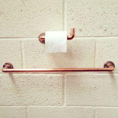 Copper Pipe Towel Rail Toilet Holder Bathroom set