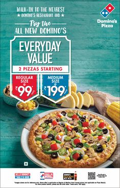 View Dominos Pizza Everyday Value 2 Pizzas Starting At Regular Size At Rs 99 Ad newspaper. This Ad is collection of Sample Ad at Advert Gallery. Pizza Art, New Pizza, Dominos Pizza India, Domino Pizza, Pizza Flyer, Advertising, Ads, Hotels, Pizza