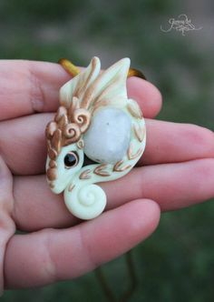 Moon Dragon pendant - moonstone dragon necklace - fantasy jewelry - white gold dragon - wicca amulet - polymer clay - targaryen jewelry  by GloriosaArt