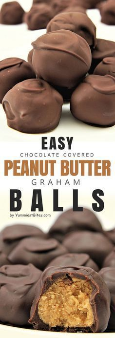 Peanut Butter Graham Balls This is a rich chocolate dessert with a specific taste of peanut butter which can be eaten just in a bite. Your cravings for chocolate can be satisfied as you pass by the bowl full of this incredible smooth treat. Candy Recipes, Sweet Recipes, Baking Recipes, Holiday Recipes, Dessert Recipes, Dessert Ig Bas, Low Carb Dessert, Weight Watcher Desserts, Just Desserts