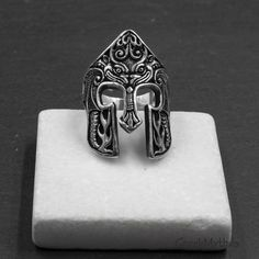 Greek Jewelry, Men's Jewelry, Photo Jewelry, Mens Silver Rings, Sterling Silver Rings, Warrior Ring, Spartan Helmet, Classical Period, Art Necklaces