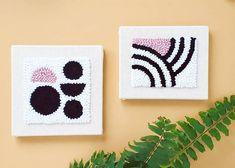 #punchneedle #punchneedlekit #rughooking #wallhanging #shepreneur #diyhome #abstractart #abstracthome #fiberartist #fiberart #yarnaddict #iloveyarn #midcenturymodernhome #retro #retrohome #midcenturymodern #inspiredwomen #interiordesign #myraandjean #flatlay Rainbow Punch, Punch Needle Kits, Black And White Wall Art, Art N Craft, Fabric Wall Art, Rug Hooking, Fiber Art, Printing On Fabric