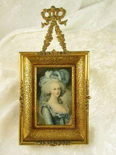 Antique Miniature Watercolor onPaper Portrait Woman Blue late18cen 2.5Hx1.5inW  #Realism