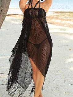 Ericdress Plain Plus Size Halt Tassel Cover-up Cover-up Beach Skirt 6ce2ebde2