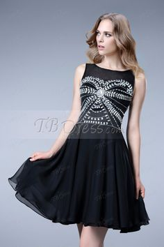 Attractive Beading Zipper-Up Empire Short/Mini A-Line Cocktail Dress