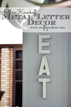 Put your own twist on the classic metal letter look with this tutorial Anthro Knockoff Metal Letters. Via craftquickies.com