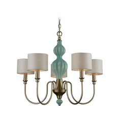 Chandelier with White Shades in Aged Silver Finish | 31364/5 | Destination Lighting