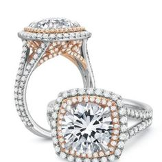Touch of rose gold in this double cushion halo by @Adam M J. Set available at David Gardner's Jewelers